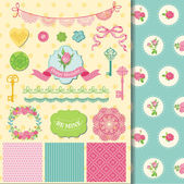Scrapbook Design Elements - Floral Shabby Chic Theme - in vector — Stock vektor