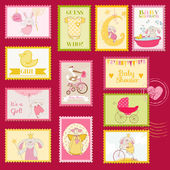 Baby Shower or Arrival Postage Stamps - for design and scrapbook — Stock Vector