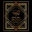 Wedding Invitation Card - Art Deco & Gatsby Style - save the date — Stock Vector