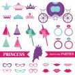 Stock Vector: Princess Party set - photobooth props - crown, rings, glasses