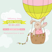 Baby Shower or Arrival Card - Baby Bunny with Air Balloon — Vecteur