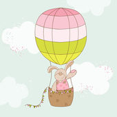 Baby Shower or Arrival Card - Baby Bunny with Air Balloon — Stock Vector