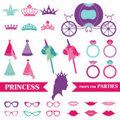 Princess Party set - photobooth props - crown, rings, glasses — Stock Vector