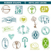 Set of Rubber Stamps - Antique Keys and Locks — Stock Vector