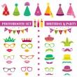 Photobooth Birthday and Party Set - glasses, hats, crowns, masks — Stock Vector #41873507