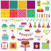 Scrapbook Design Elements - Happy Birthday and Party Set — Stock Vector