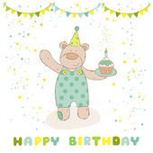 Happy Birthday and Party Card - Baby Bear and Birthday Cake — Stock Vector