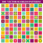 100 Seamless Colorful Patterns Background Collection — Stockvektor