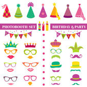 Photobooth Birthday and Party Set - glasses, hats, crowns, masks — Stock Vector