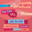 Save the Date - Retro Wedding Invitation Card with Diamond Ring — Stok Vektör