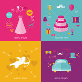 Wedding Party Set - Photobooth Props - glasses, hats, mustaches — Stock Vector