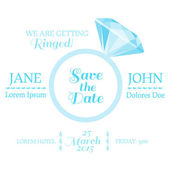 Save the Date  - Wedding Invitation Card with Diamond Ring — Stock Vector