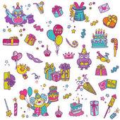 Hand drawn Birthday Celebration Design Elements — Stock Vector