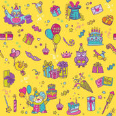 Birthday Celebration Seamless Pattern - for scrapbook, design — Stock Vector