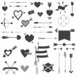 Hearts and Arrows Set - for Valentine's Day, Wedding, Design — Stock Vector