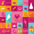 Priness Flat Icons Set - crown, lips, rings, hats - in vector — ストックベクタ