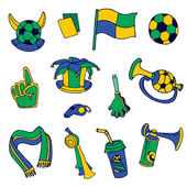 Fan Elements: Soccer, Footall, Brazil  - hand drawn - in vector — Stock Vector