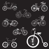 Doodle Bicycles - hand drawn - in vector — Stock Vector