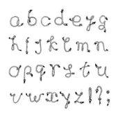 Hand drawn alphabet - Rope or String . Handwritten font — Stock Vector