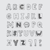 Hand drawn scrapbook alphabet. Handwritten font. — Stock Vector