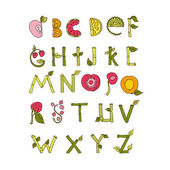 Hand drawn alphabet - Nature and Fruits Elements. Doodle font. — Stock Vector