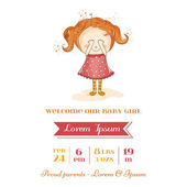 Baby Girl Arrival Card - with Baby Girl - in vector — Vetorial Stock