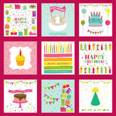 Set of Happy Birthday and Party Invitation Card — Stock Vector