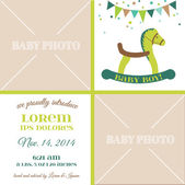Baby Arrival Card - with place for your text and photo — Stock Vector