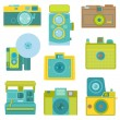 Set of Flat Photo Cameras - in vector — Stock Vector #45829463