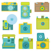 Set of Flat Photo Cameras - in vector — Vettoriale Stock