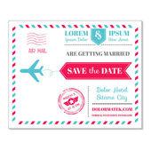 Carta di invito matrimonio - tema posta aerea cartolina d'epoca — Vettoriale Stock