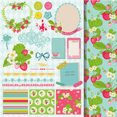 Scrapbook Design Elements - Strawberry Shabby Chic Theme — Stock Vector