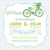 Wedding Invitation Card - Vintage Bicycle Theme - in vector — Stock Vector