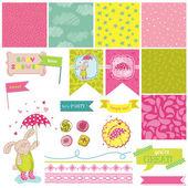 Baby Bunny Shower Theme - Scrapbook Design Elements - in vector — Stock Vector