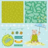 Baby Bear Shower Theme - Scrapbook Design Elements - in vector — Stock Vector