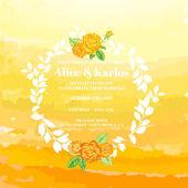 Wedding Vintage Invitation Card - Watercolor Ombre Theme — Stock Vector
