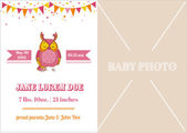 Baby Girl Arrival Card - with place for your text and photo — Stock Vector