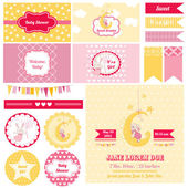 Scrapbook Design Elements - Baby Shower Bunny Theme - in vector — Stock Vector