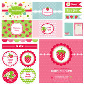 Scrapbook Design Elements - Strawberry Baby Shower Theme — Stock Vector