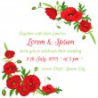 Wedding Vintage Invitation Card - Poppy Floral Theme - in vector — Stock Vector #46998877