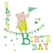 赤ちゃんクマ誕生日カードの招待状、お祝いの — ストックベクタ