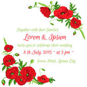 Wedding Vintage Invitation Card - Poppy Floral Theme - in vector — Stock Vector