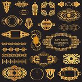 アールデコのビンテージ フレームおよびデザイン要素 — ストックベクタ