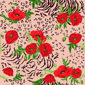 Floral Seamless Pattern - Poppy and Animal Skin Theme — Stock Vector