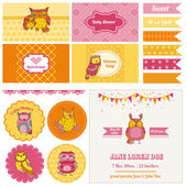 Baby Shower Owl Party Set - for design and scrapbook - in vector — Stock Vector