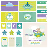 Baby Bear on a Plane - for Birthday, Baby Shower, Party Decoration — Cтоковый вектор