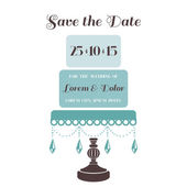 Wedding Cake Invitation - Save the Date - for design, scrapbook  — Stock Vector