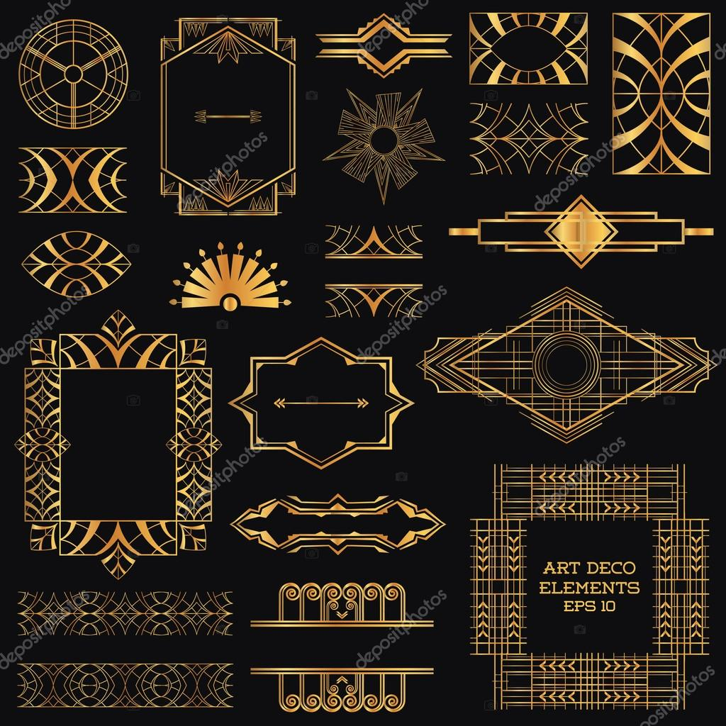 Art deco vintage frames and design elements in vector for Art deco interior design elements