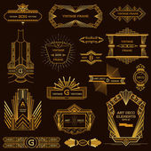 Art Deco Vintage Frames and Design Elements - in vector — Cтоковый вектор