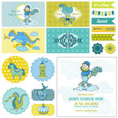 Baby Shower Little Prince Boy Set - for Party Decoration — Stock Vector
